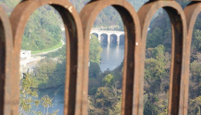 panorama dal ponte di Paderno d'Adda (Lc) sul fiume Adda